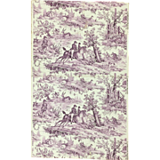 Antique Beautiful Late 19th/Early 20th C. French Scenic Toile Wallpaper (8928)