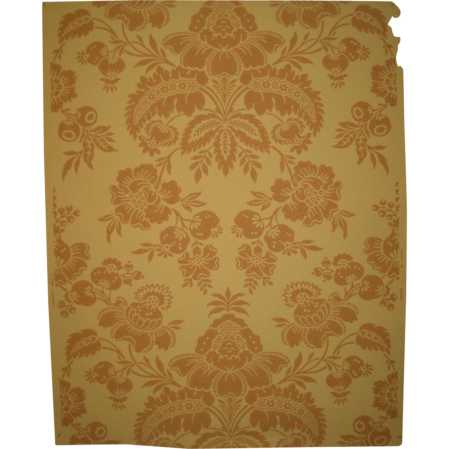 Antique Beautiful 19th C. French Damask Wallpaper (9008)