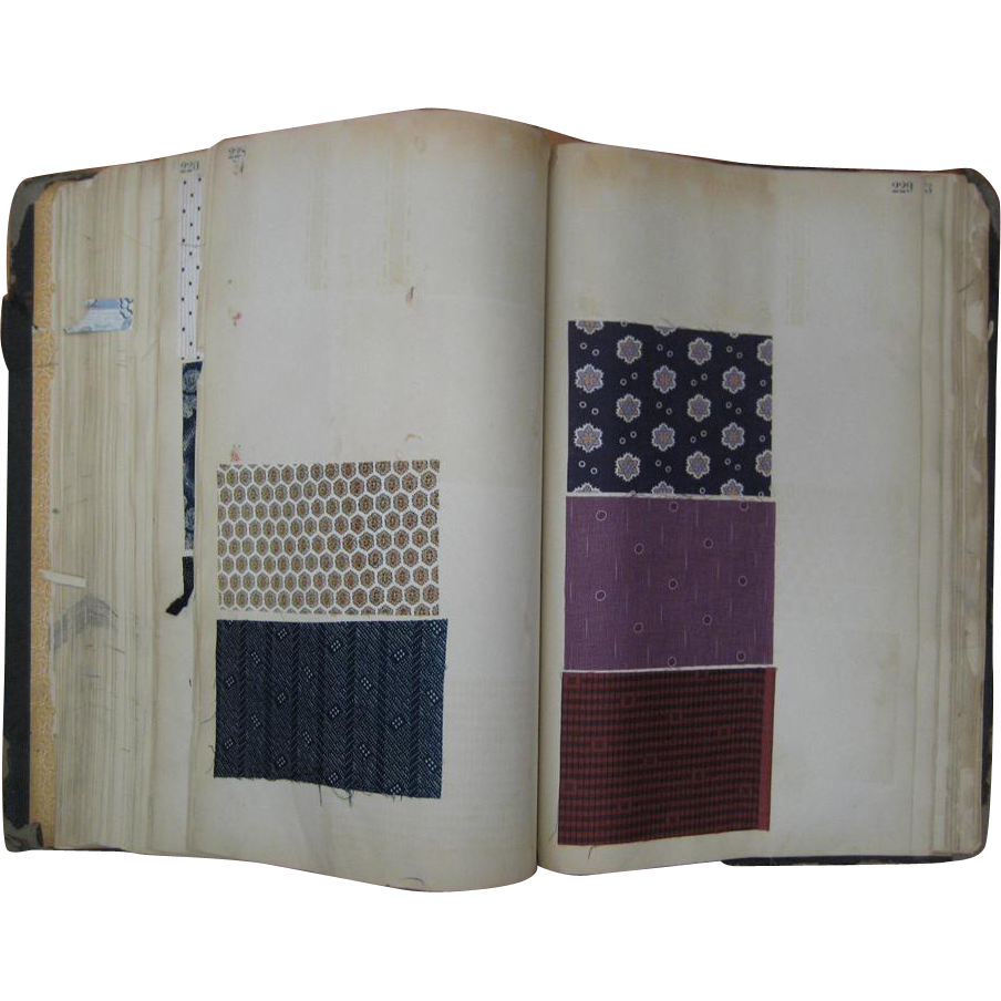 Antique Beautiful 19th c. printed French Cotton swatch book (904)