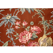 Beautiful Early 20th C. French Floral Cotton Print Fabric (9090)