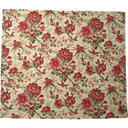 Beautiful Vintage 19th Century French Cotton Floral Print Fabric (9420)