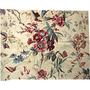 Beautiful 19th Century French Floral Cotton Print Fabric (9427)