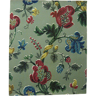 Charming 1940's English Exotic Floral Wallpaper (9449)