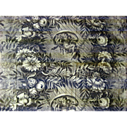 Antique Beautiful 19th C. French Scenic Floral Toile Fabric (9458)