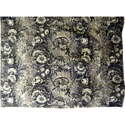 Beautiful Antique 19th C. French Scenic Floral Toile Fabric (9458)