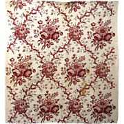 Beautiful Antique 18th C. French Block Print on Cotton Fabric (9490)