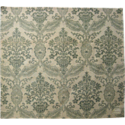 Beautiful Vintage 19th C. French Damask Print on Linen (9504)