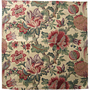 Beautiful Antique 19th C. French Exotic Jacobean Floral Cotton Print