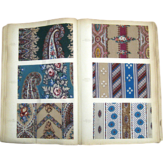 Antique Rare 19th C. Printed French Swatch Book 270 samples ( 970)