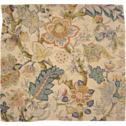 Antique Beautiful 19th C. French Tussah Silk Exotic Jacobean Printed Floral (9956)