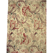 Antique Beautiful 19th C. French Cotton Exotic Floral Jacobean Fabric (9970)