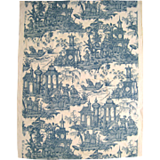 Vintage Beautiful 1930's. French Chinoisere Toile Print Fabric (9982)