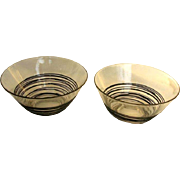 Pair Carder Steuben Clear/Black Reeded Custard Cups - c. 1930
