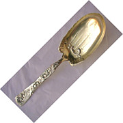 Whiting Sterling Roses & Scrolls Large Berry Spoon ca 1890