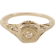 14K Edwardian Diamond Filigree Engagement Ring
