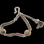 Vintage Sterling/Silver Edwardian Albertine Tassel Fob Chain Bracelet