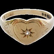 English 9K Gold Diamond Signet Ring-Heart Shaped