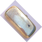 Silver Card Case-Sapphire Spider and Web c. 1900