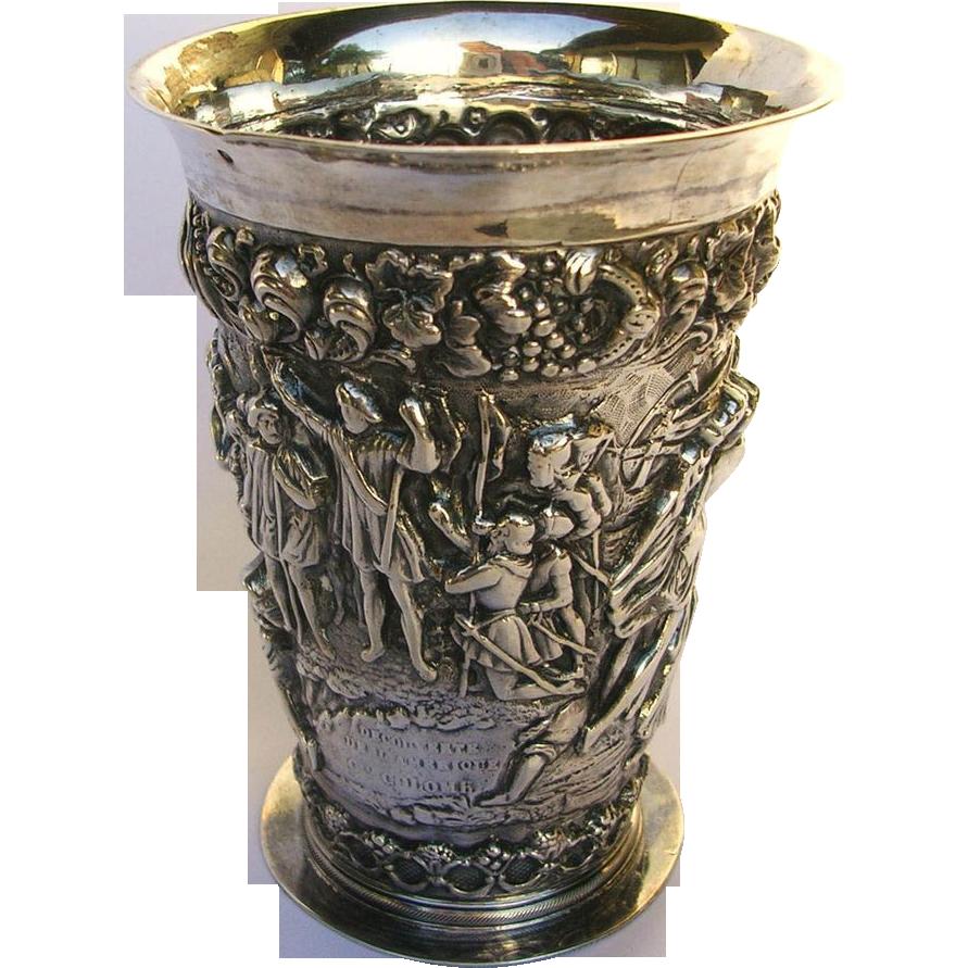 Dutch Figural Silver Repousse Beaker-Columbus in America c.1894