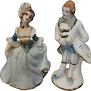Miniature Porcelain Courting Couple Figurines for Doll Room Mantle