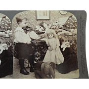 Super Stereoview Card, Brother Threatens to Cut Doll's Arm, Sister Crying
