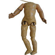 Small 6 1/2 Inch German Jointed Composition Doll Body w/French Arms