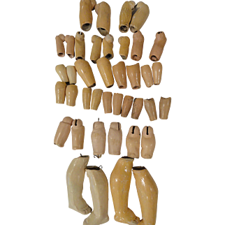 20 Pairs of Antique Composition Arms and Legs Parts