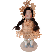 All Bisque Doll Stiff Legs Sweet Lace Outfit
