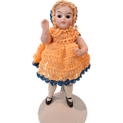 Little All Bisque in Gold and Blue Crocheted Outfit As Is