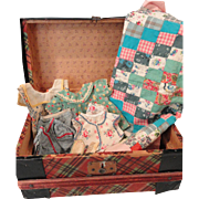 Plaid Doll Trunk w/ Clothing & Other Items