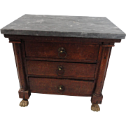 "1/2 Price Sale:  Marble Topped 7"" Tall Empire Doll Chest"