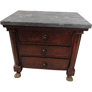 "Marble Topped 7"" Tall Empire Doll Chest"