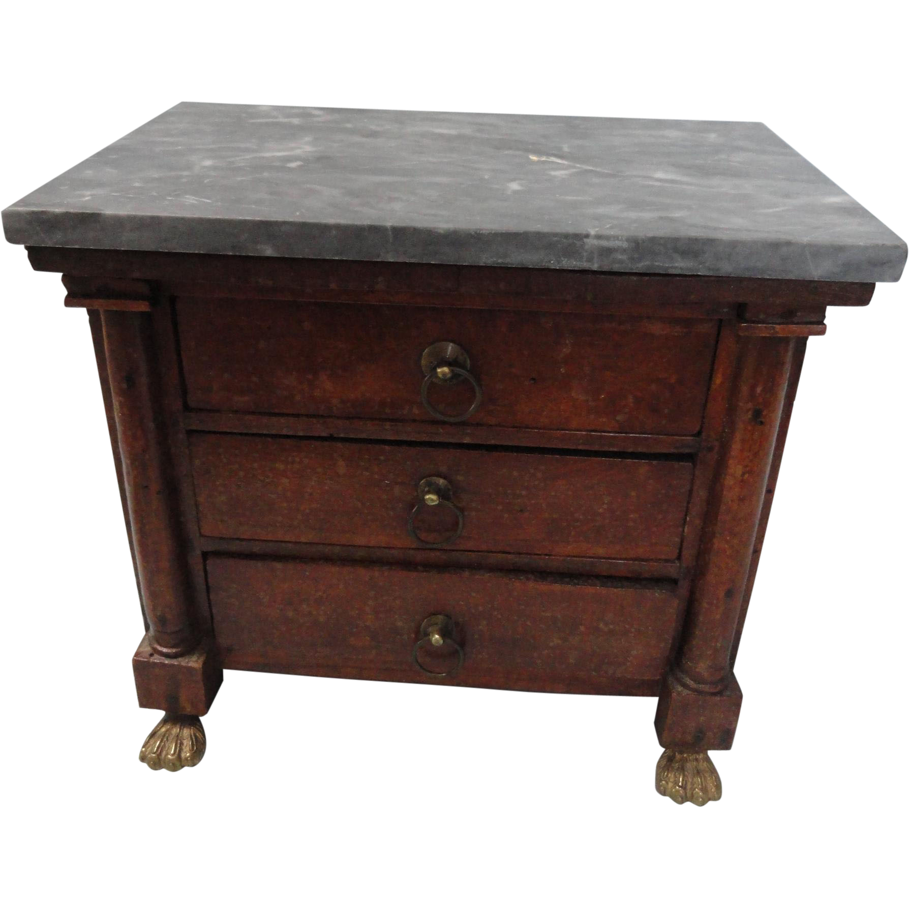 "Huge Sale:  Marble Topped 7"" Tall Empire Doll Chest"