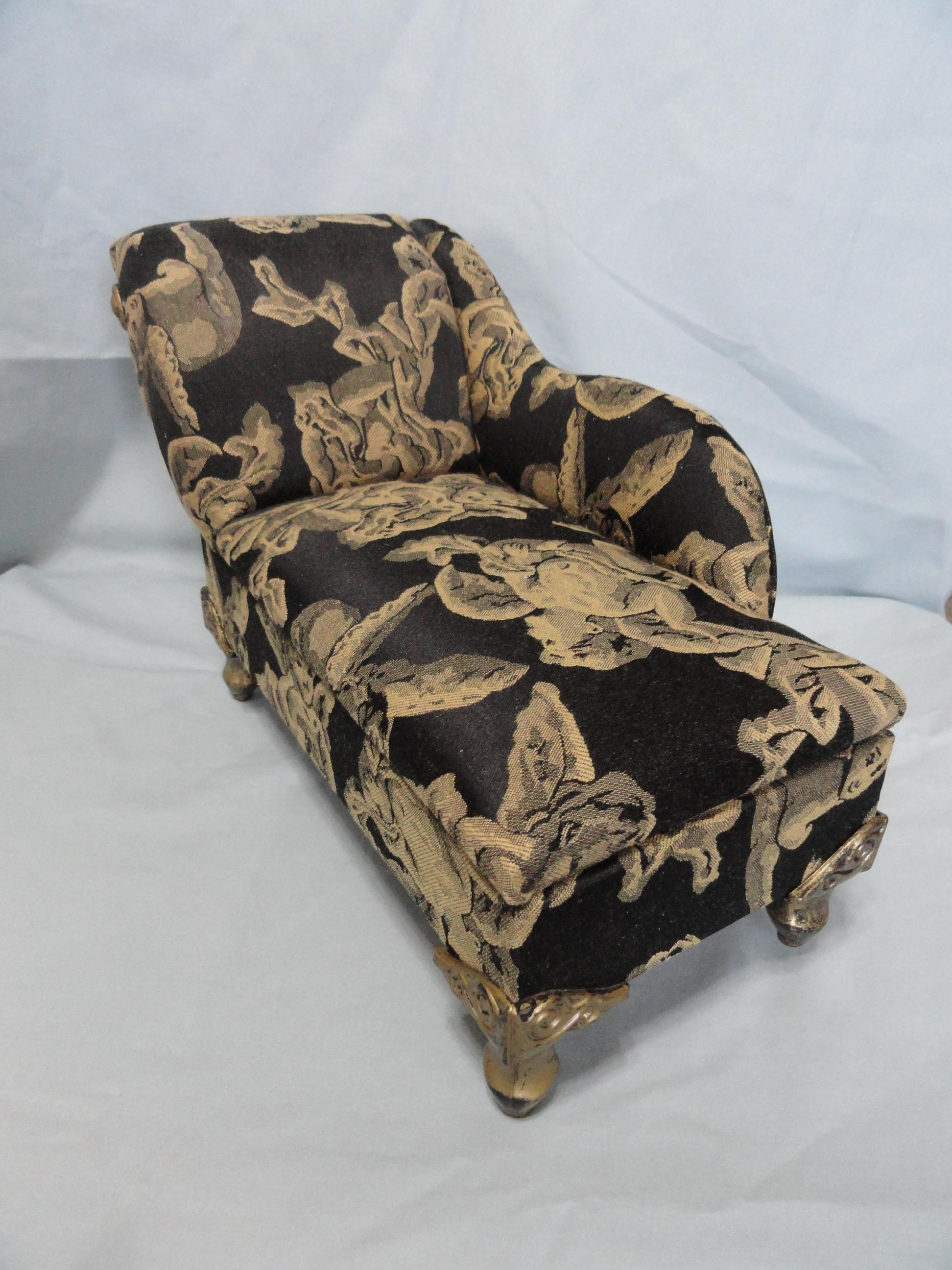 Vintage chaise longue for french fashion upholstered w - Changer toile chaise longue ...