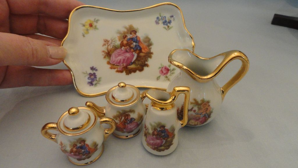miniature limoges tea set for doll house or doll room sold on ruby lane. Black Bedroom Furniture Sets. Home Design Ideas
