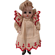 Sweet All Bisque Doll in Darling Dress w/Red Embroidery