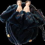 """Pair of 1"""" Frozen Charlottes in Blue Velvet Bag"""