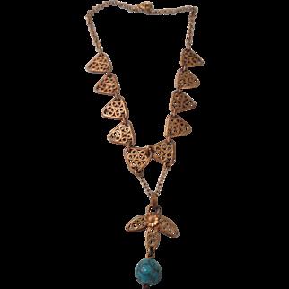 Beautiful and Rare Doll Necklace w/Jumeau Blue Stone