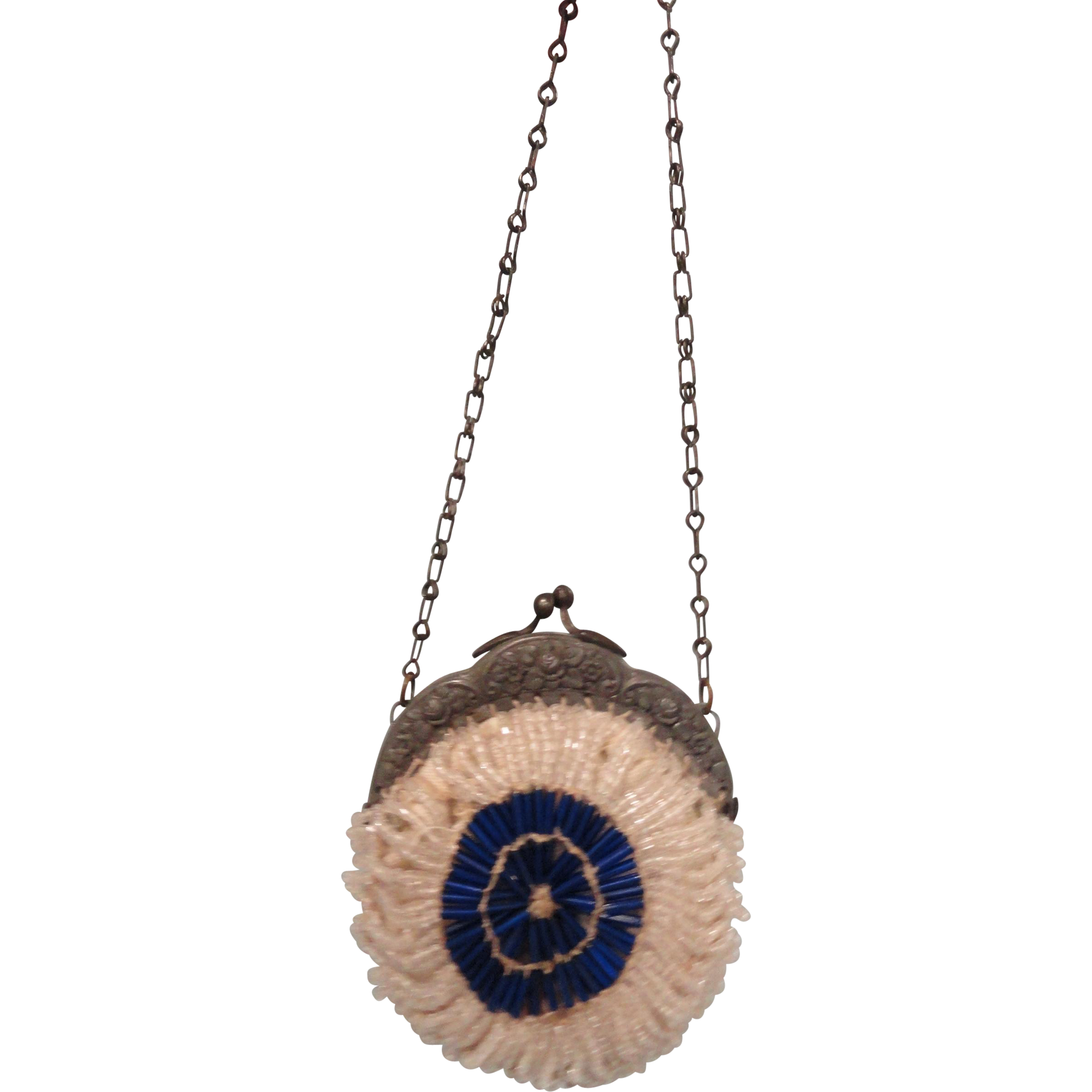 Blue and White Beaded Purse for your French Fashion Doll
