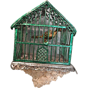 German Soft Metal Bird Cage w/Bird and Seed Catcher