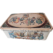 French Biscuit Tin Decorated w/Quimper Dancers