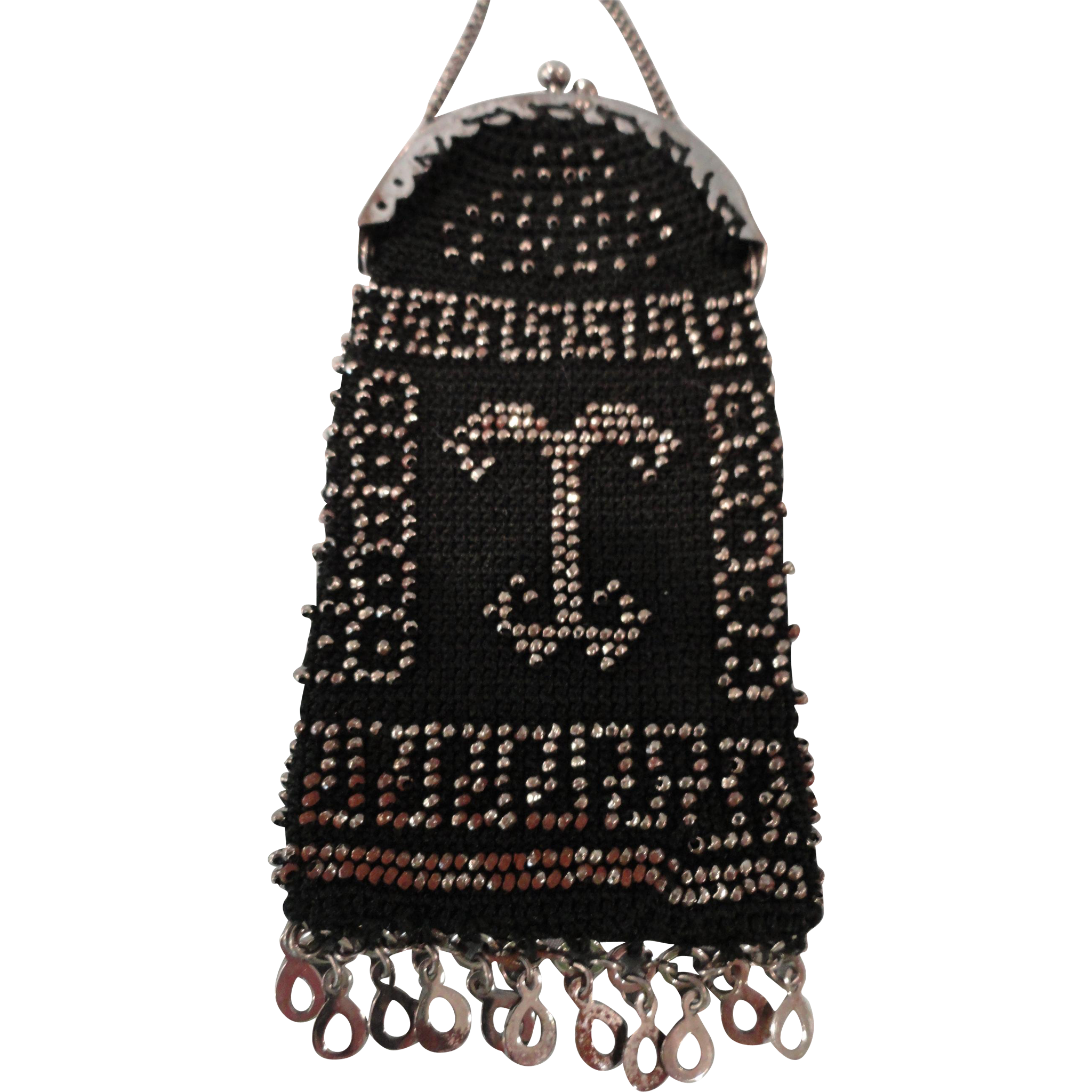 Lovely Black Doll Purse w/Steel Cut Beads Design