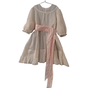White dress w/Pink Sash for Large Doll