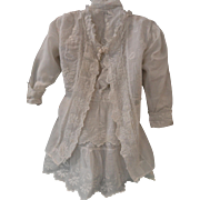 """Uncommonly Beautiful Victorian White Embroidered Dress & Coat 28"""" Doll + Slip, Pantaloons"""