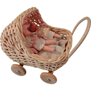 Cute Wicker Buggy w/Twin Babies, Germany, by Shackman