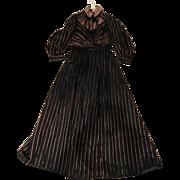 Half Price! Gorgeous Civil War Era Dress in Black Satin w/Pink Stripes