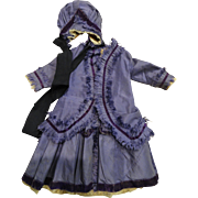 Gorgeous Purple 2 Piece Dress and Matching Bonnet for Large Doll