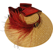 Lovely Vintage Straw Hat w/Red Ribbons and Feathers