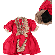 Pretty Red Satin Doll Dress w/Matching Bonnet