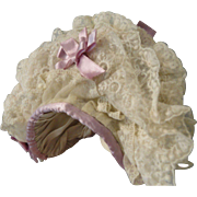 Wonderful Frothy Lacy Bonnet w/Lavender Bows